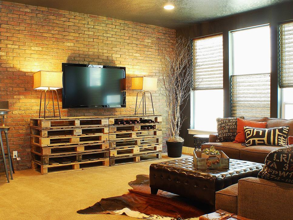Rustic Living Room With Custom Painted Brick Wall