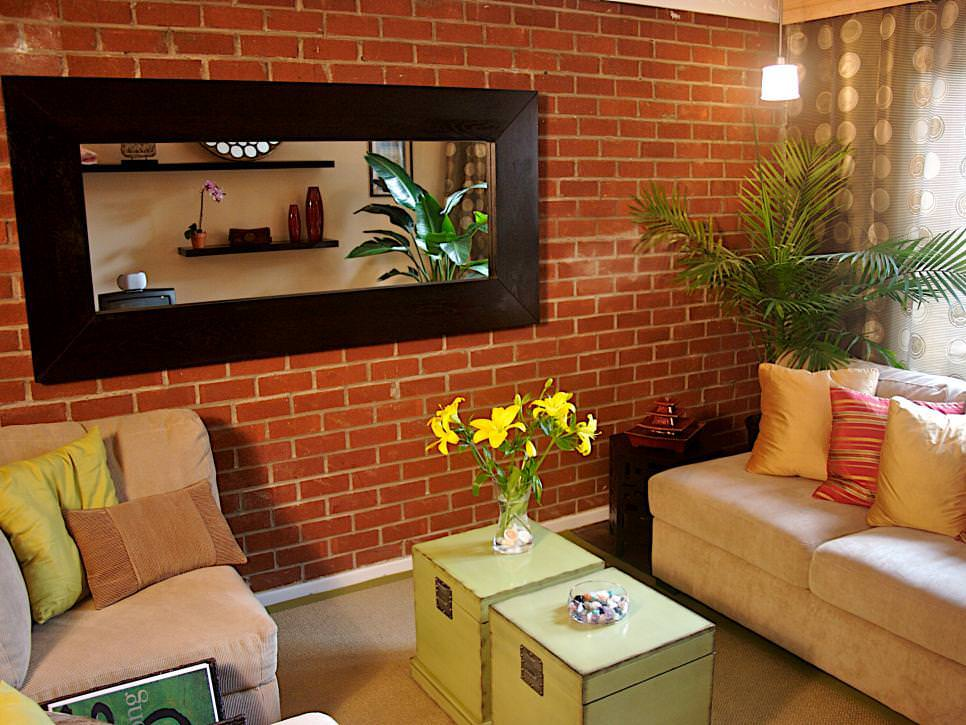 Simple Living Room With Brick Accent Wall