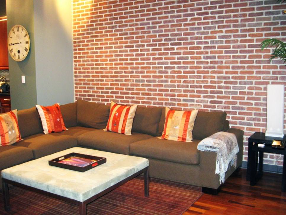 Transitional Living Room With Exposed Brick Wall