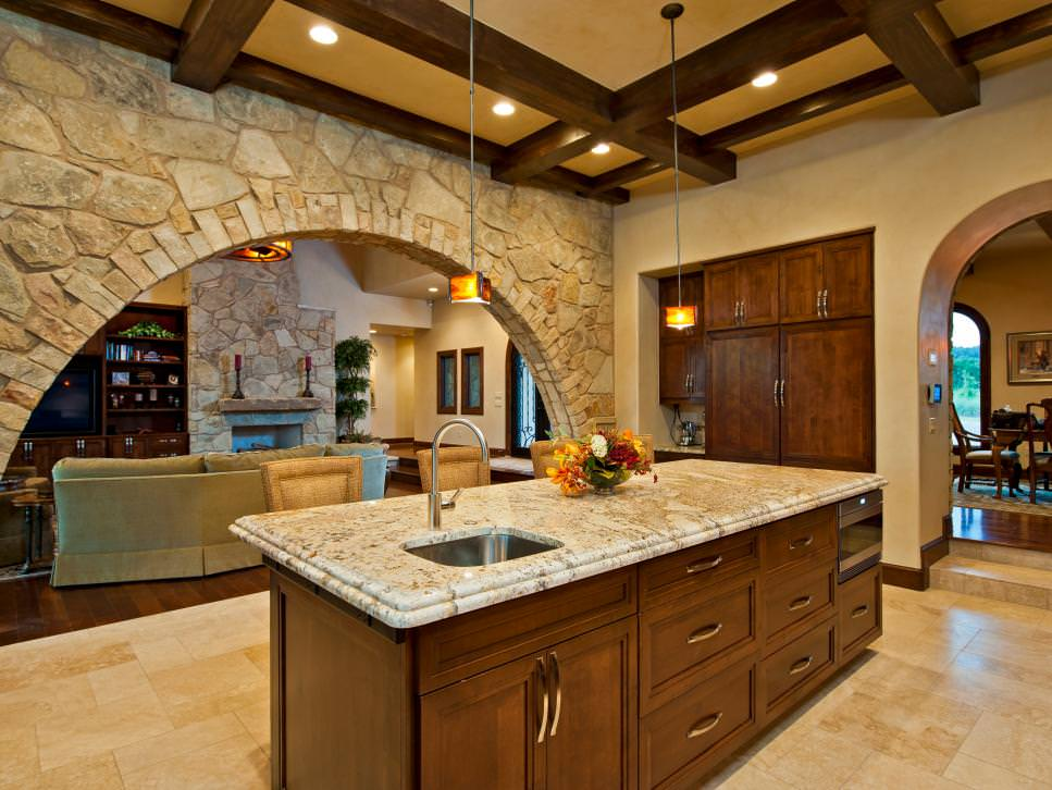 Austin Kitchen with stone walls design