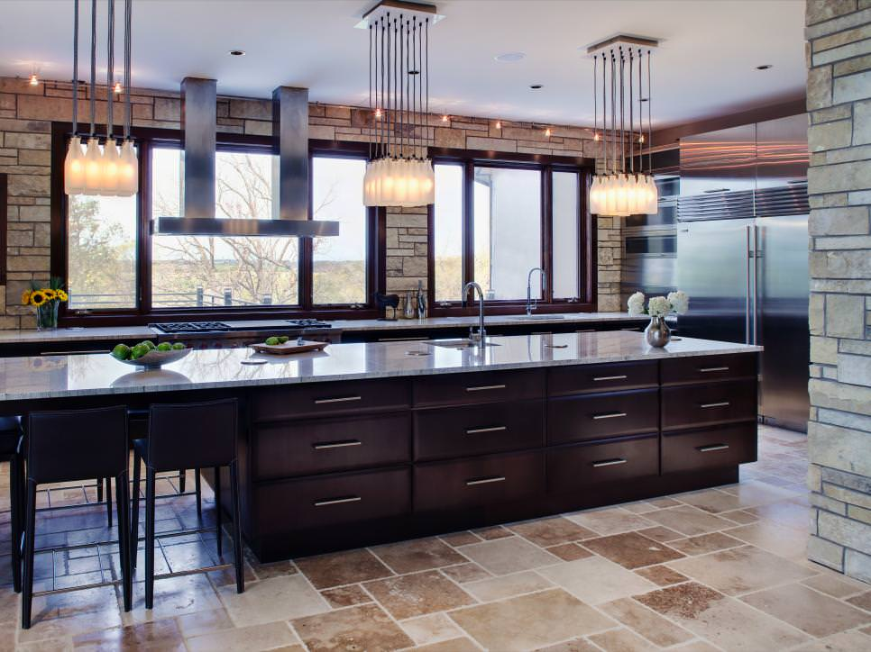contemporary eat in kitchen with wall design