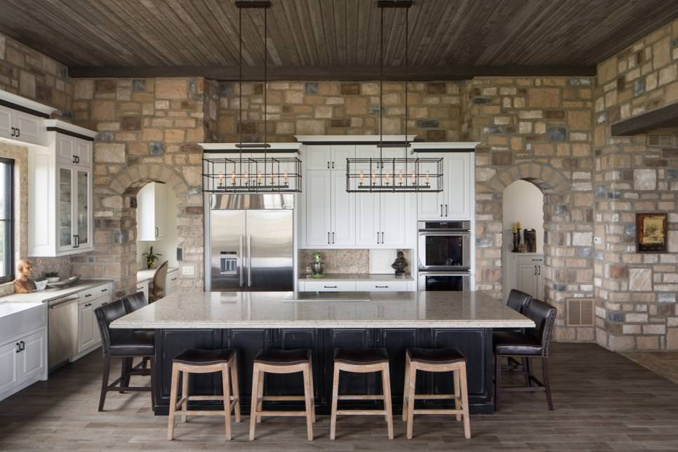 eat in kitchen features stone walls design