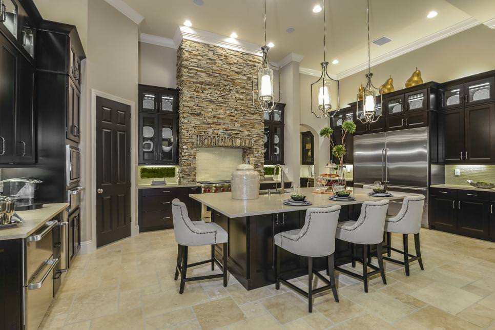 Inspired Kitchen With stone walls design