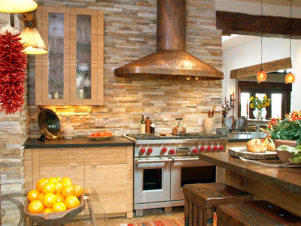 kitchen with rustic stone wall backsplash