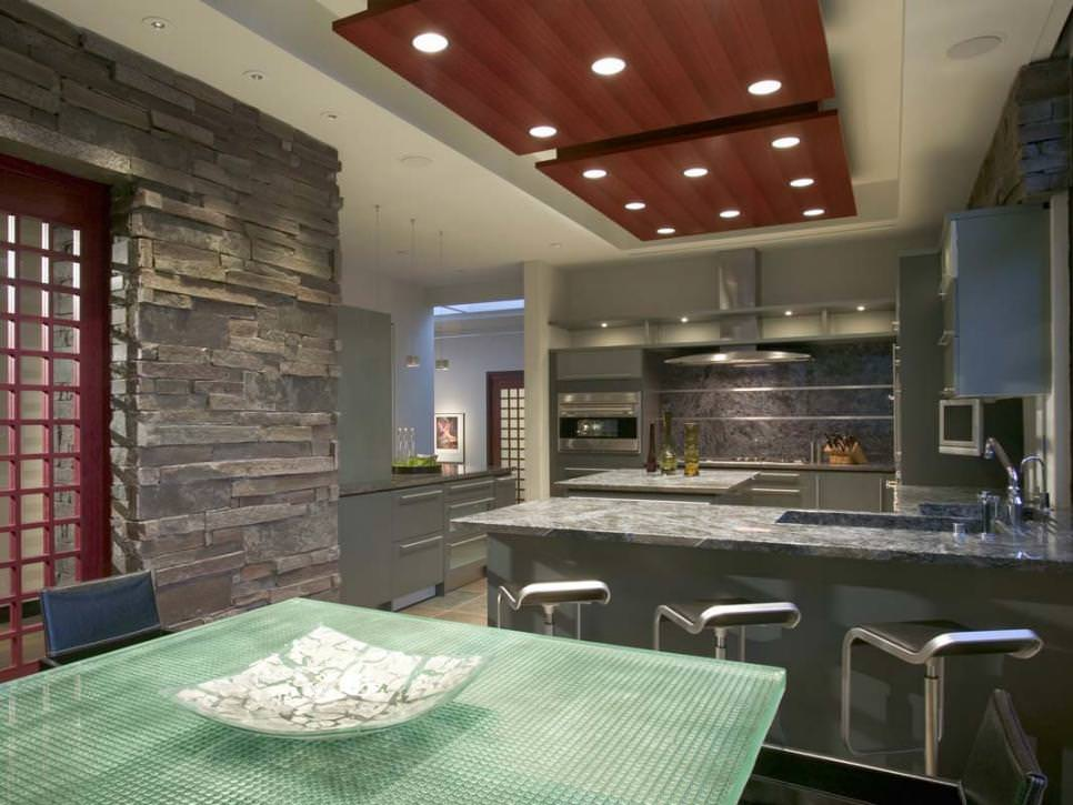 Modern Gray Kitchen With Stack Stone Wall design
