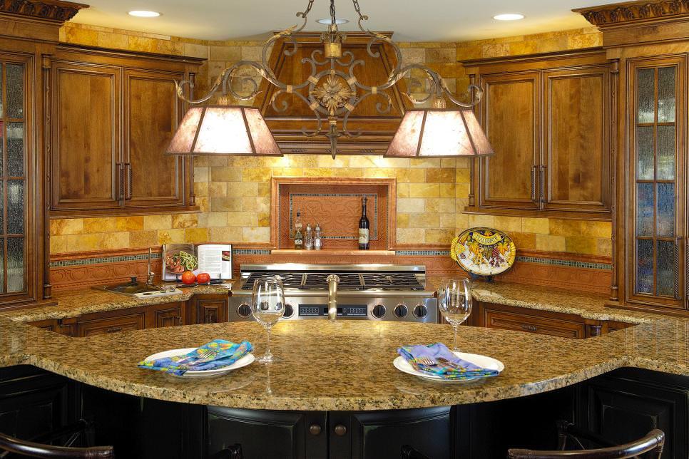 Neutral Mediterranean Kitchen With Gorgeous Stone wall