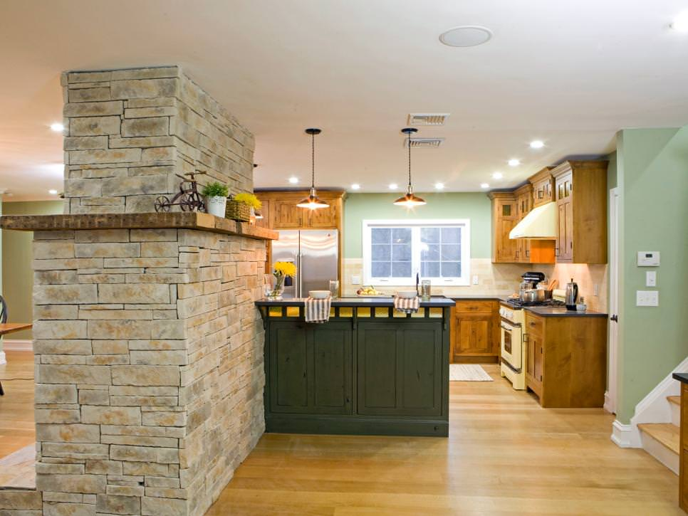 Open-Concept Kitchen stone walls design