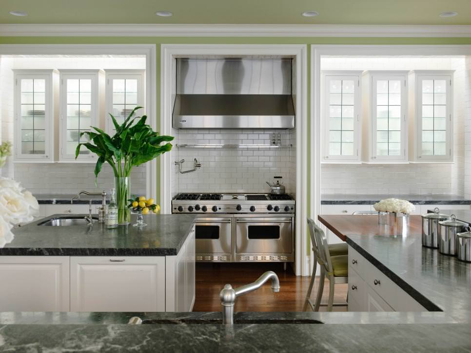 open kitchen with soap stone wall design