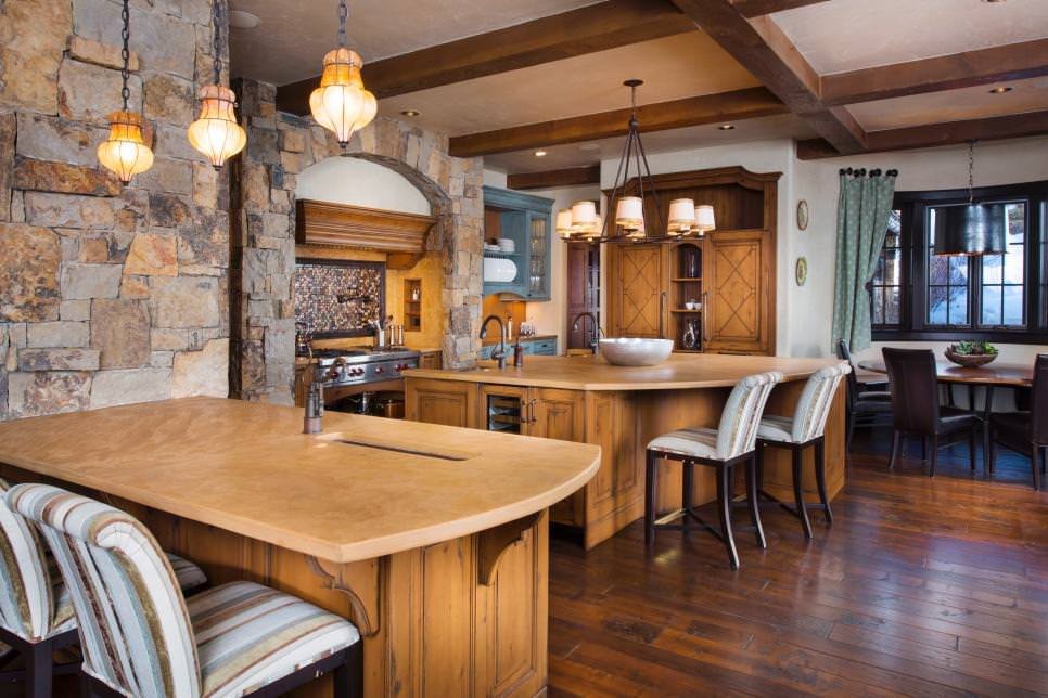 Rustic Kitchen With Stone Accent Wall