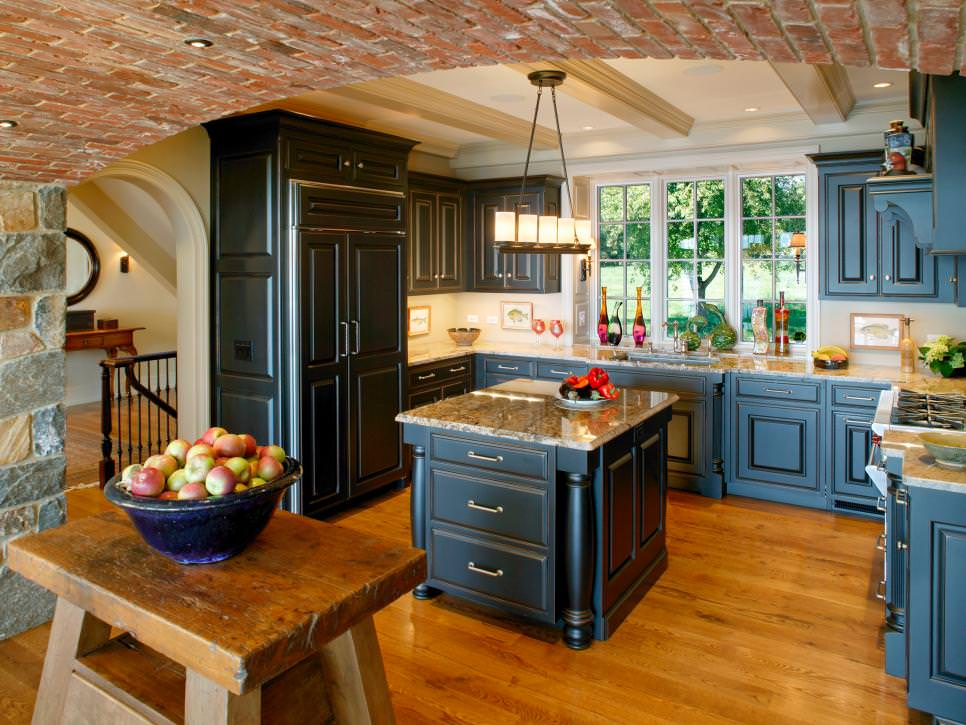 Rustic Kitchen with stone wall design