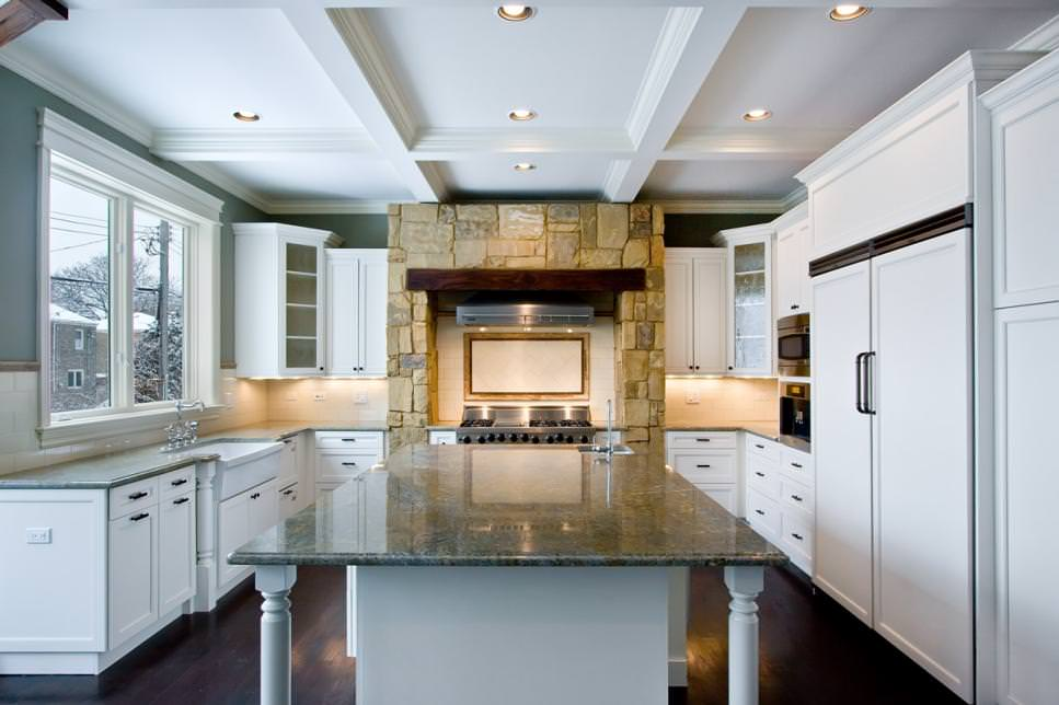 Traditional Kitchen with Crisp White stone walls