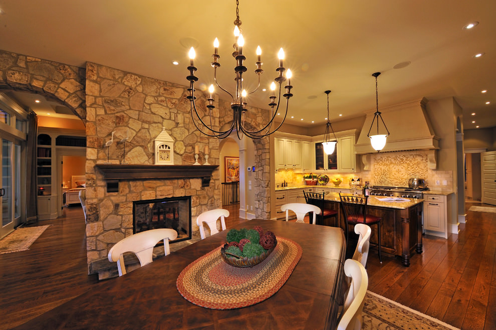 Traditional kitchen with designed stone walls