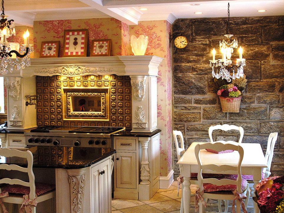 warm worn stone wall in shabby chic kitchen