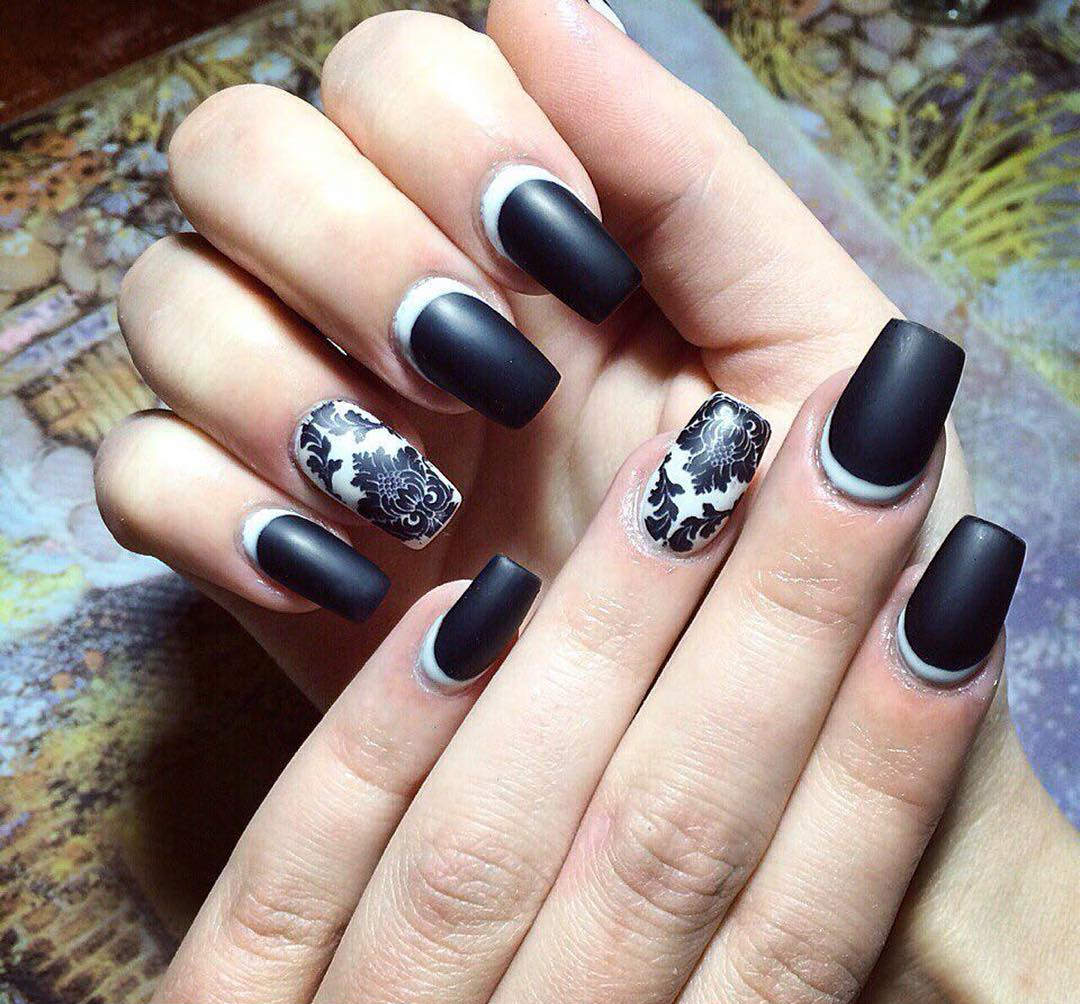 Black Colored Nail Design