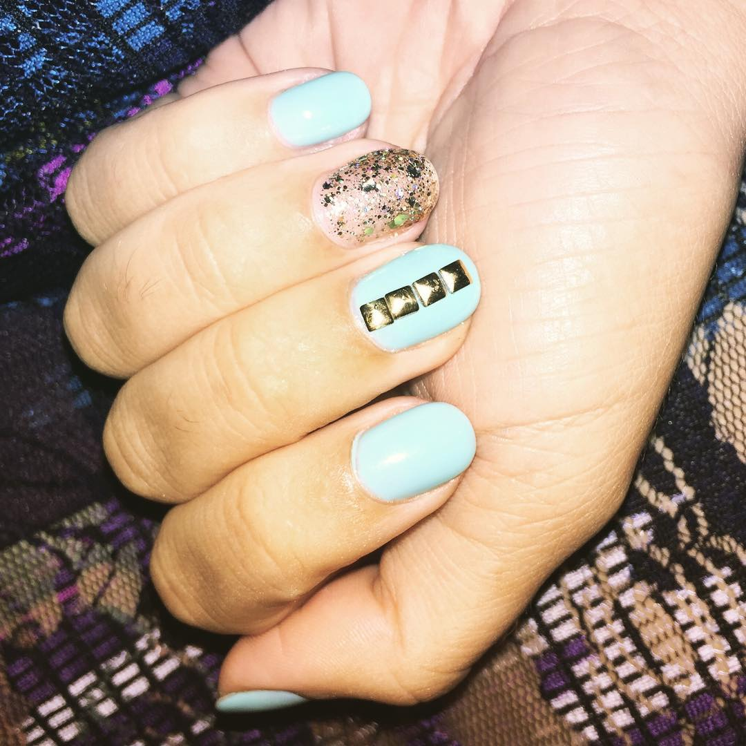 Blue Colored Nail Design