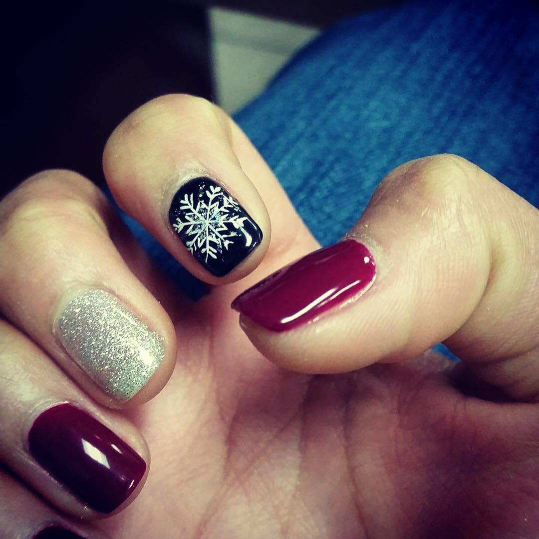 Maroon Colored Nail