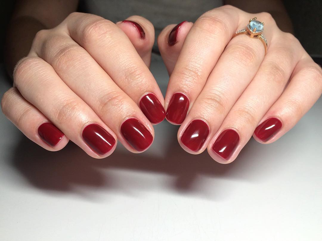 Red Colored Simple Nail Design