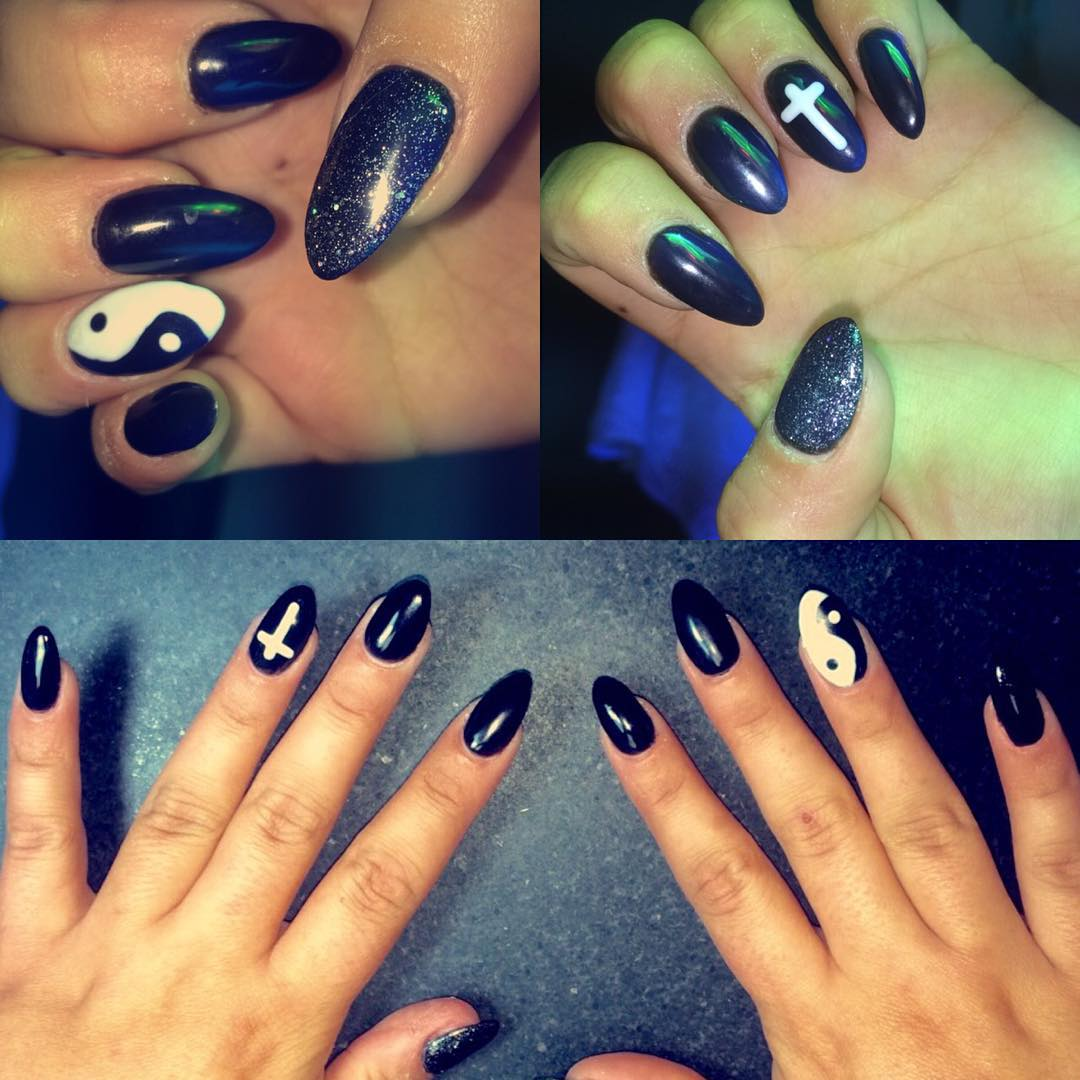 Black Stylish Nail Design