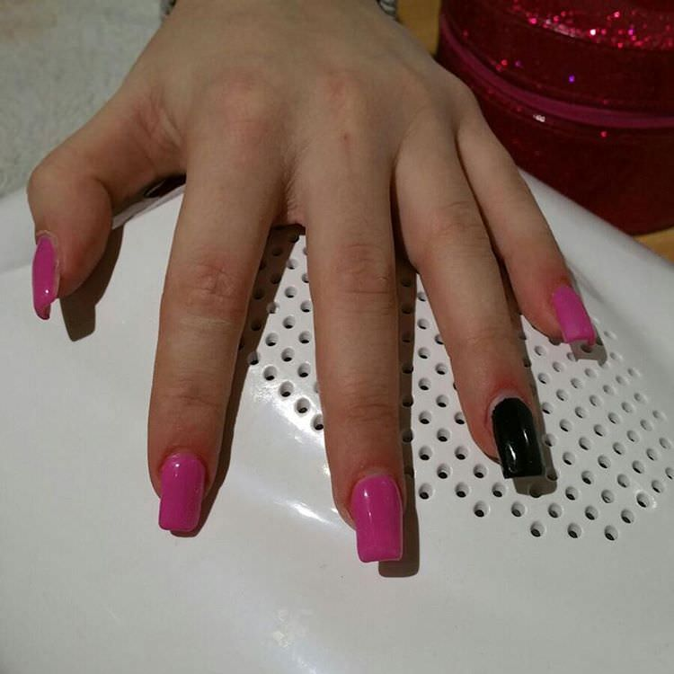 Pink and Black Nail Polish on Cross Nails