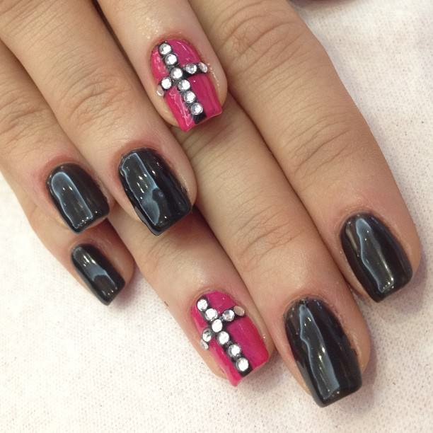 Colorful Combination on Cross Nails
