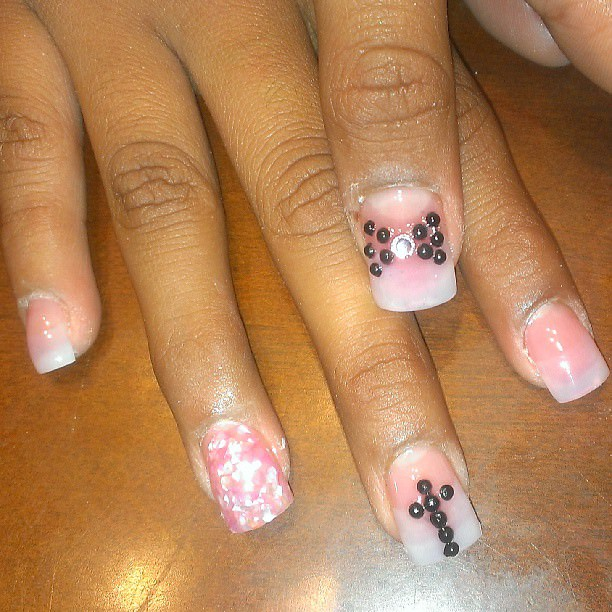 Cross Nail Design with Pink Polish