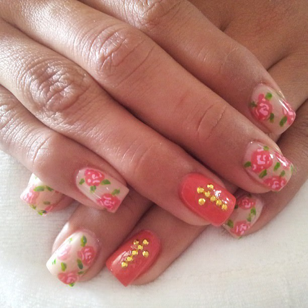 Floral Cross Nail Designs
