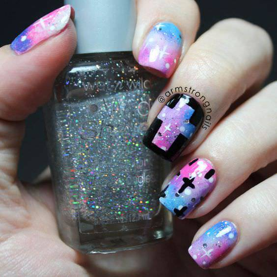 Pink and Blue Nail Polish on Cross Nails