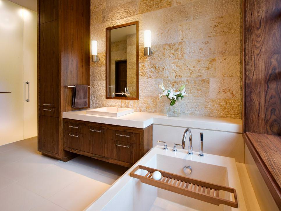 Textured focal wall in this contemporary bathroom