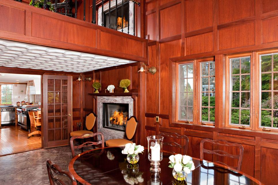 Warm wood paneled walls pair with a textured