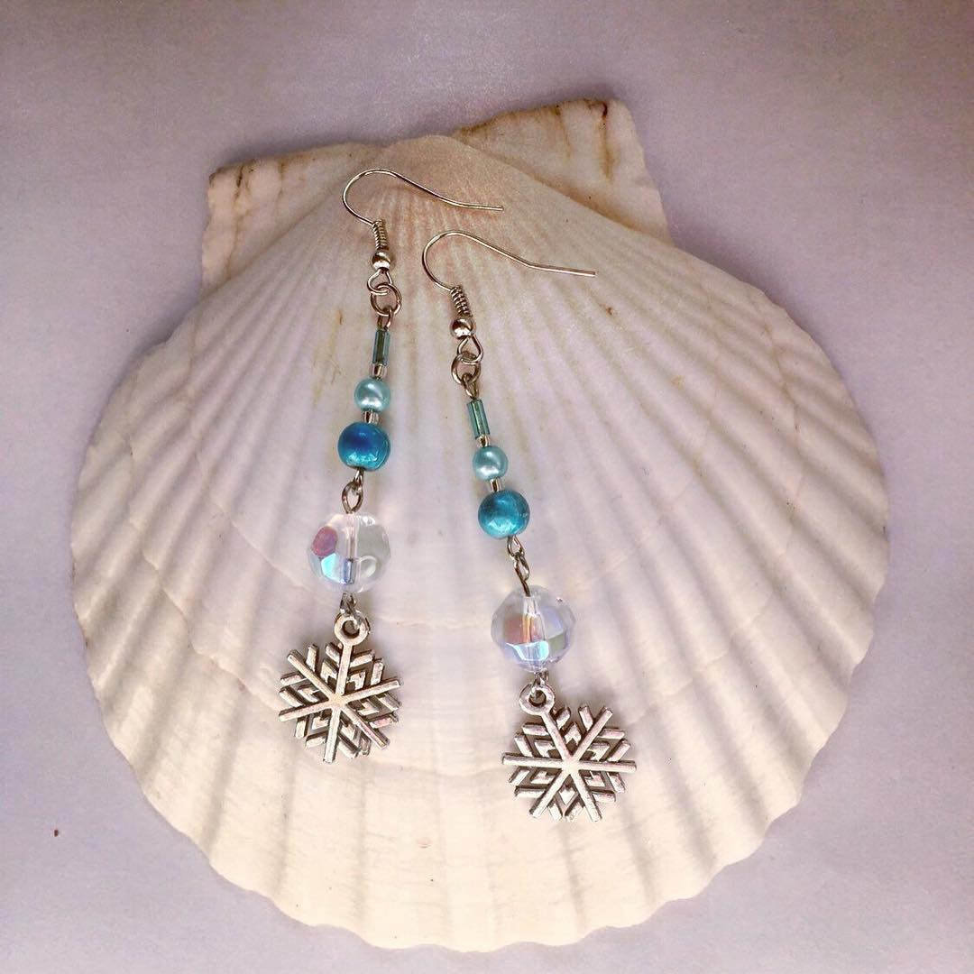 Snowflake Earrings With Blue Beads