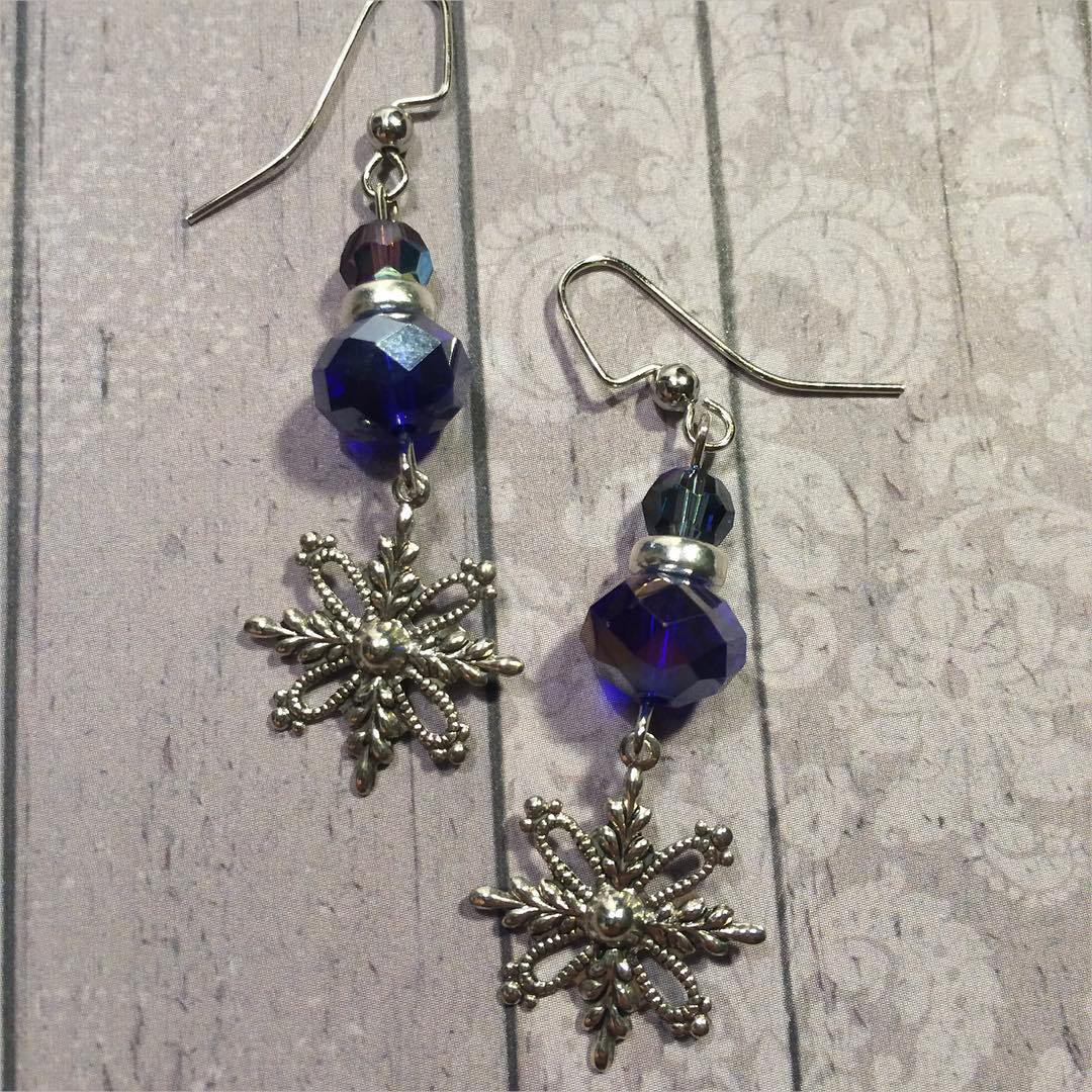 Snowflake Earrings With Navy Blue Beads