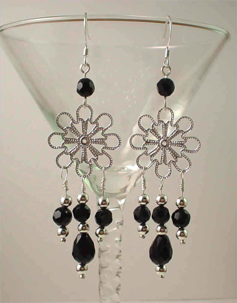snowflake earrings with black color beads