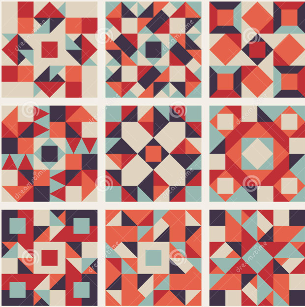 Different Colors Quilt Pattern.