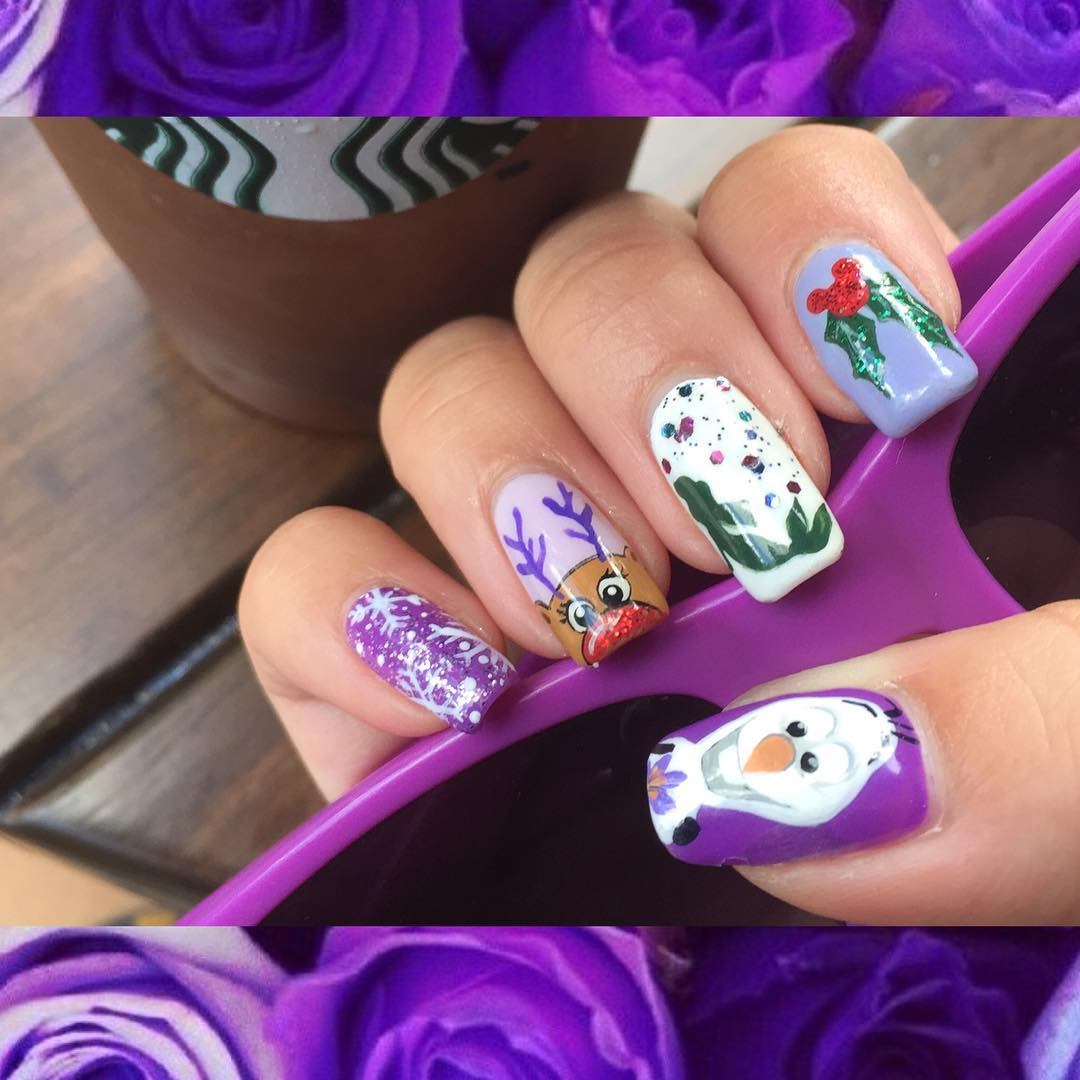Purple Design Disney Nail Art