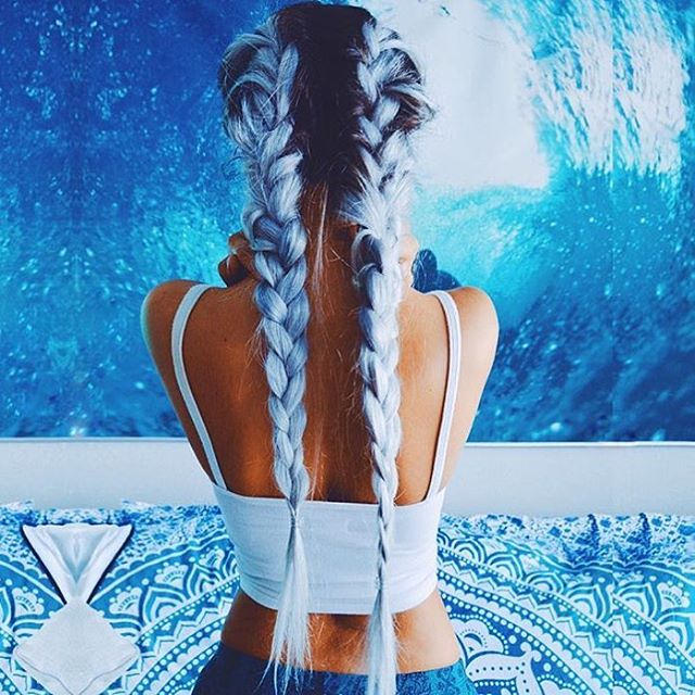 long hair two plaited french braid