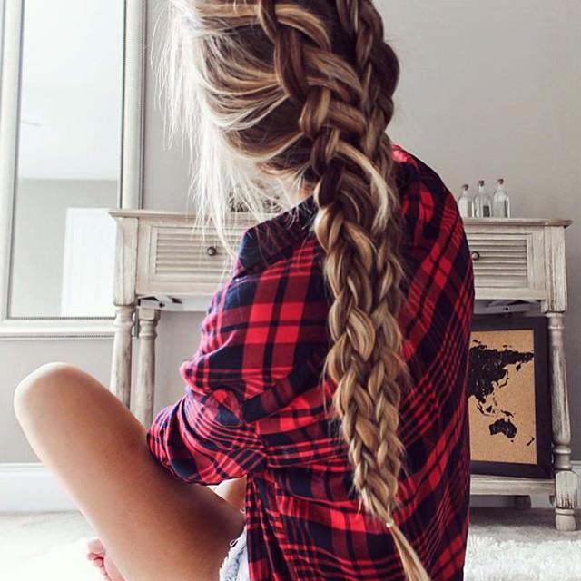 long hair french braid