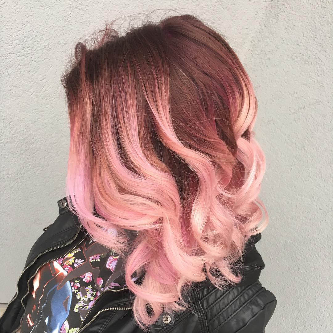 Pink Color Mid length Hairstyle