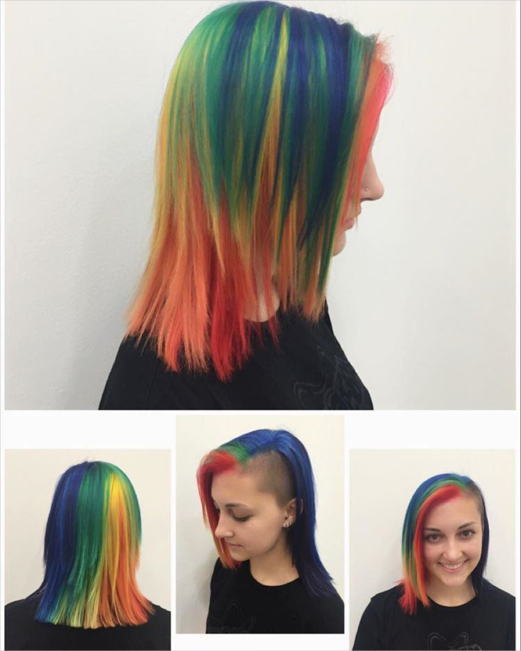 crazy color mid length hairstyle