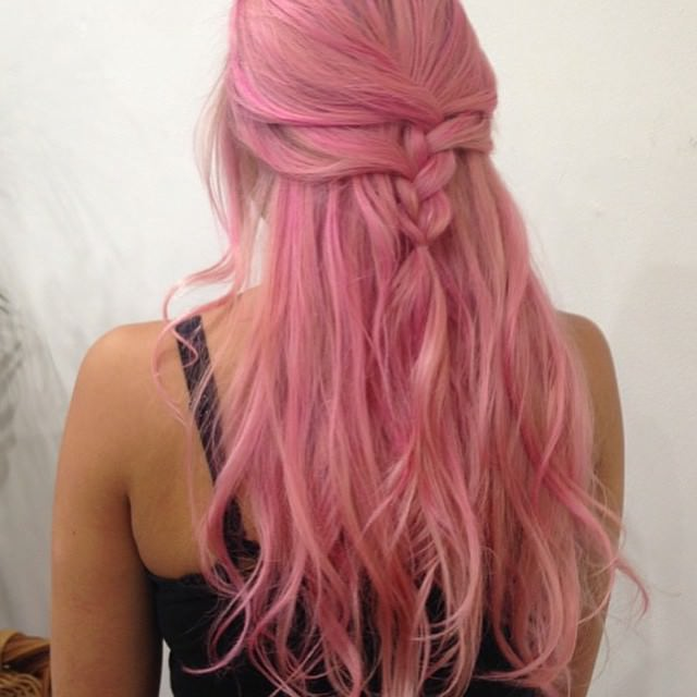 loose hair half french braid