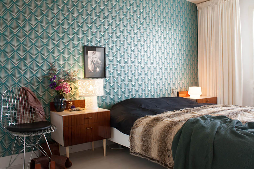 Eclectic bedroom with green geometric structure