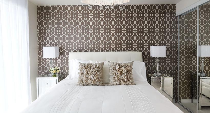 Bedroom With Geometric Wallpaper Designs