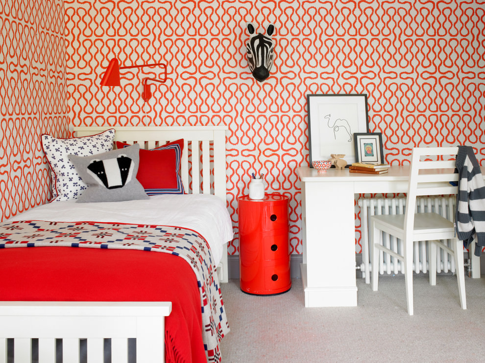 Kids Bedroom with geometric designed wallpaper