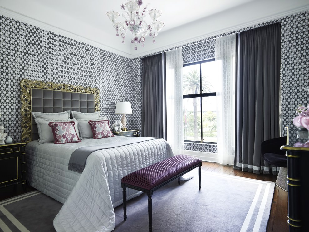 Modern bedroom with Gray geometric wallpaper idea