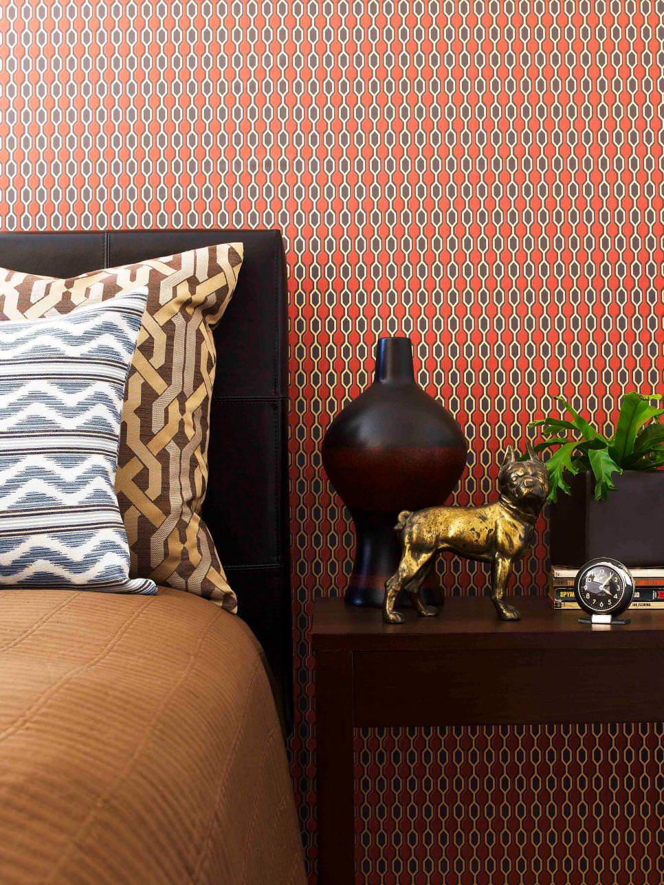 Orange Geometric wallpaper sticked to bedroom wall