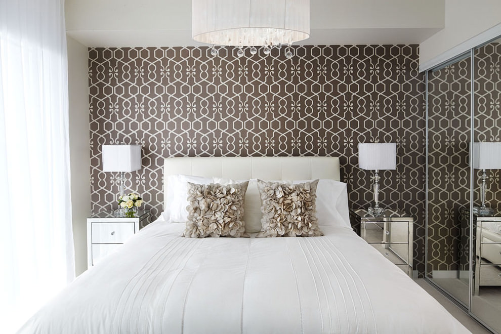 Transitional bedroom with gray geometric wall paper model
