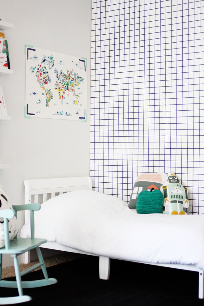 kids bedroom with pleasent white geometric wallpaper design