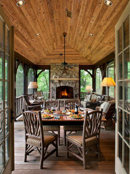 Rustic Porch with Dining Table
