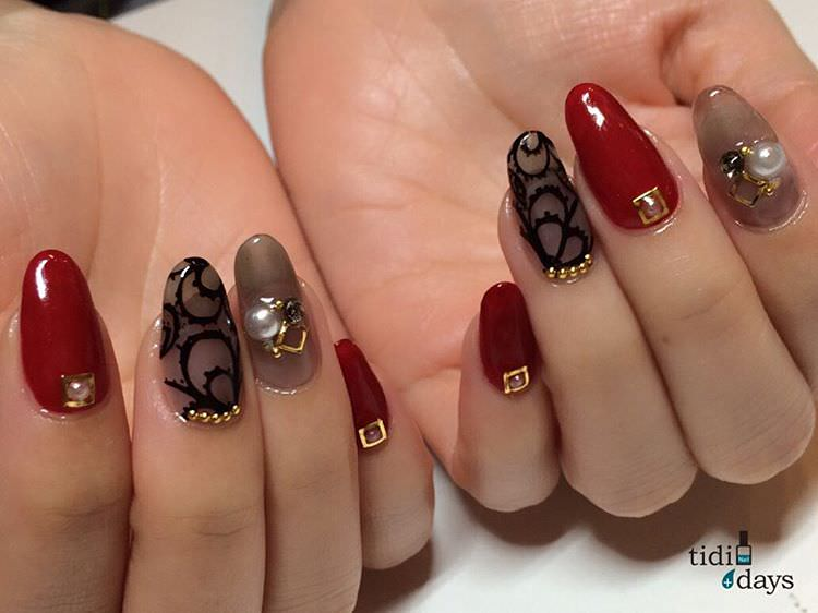 Black Lace Art on Claw Nails