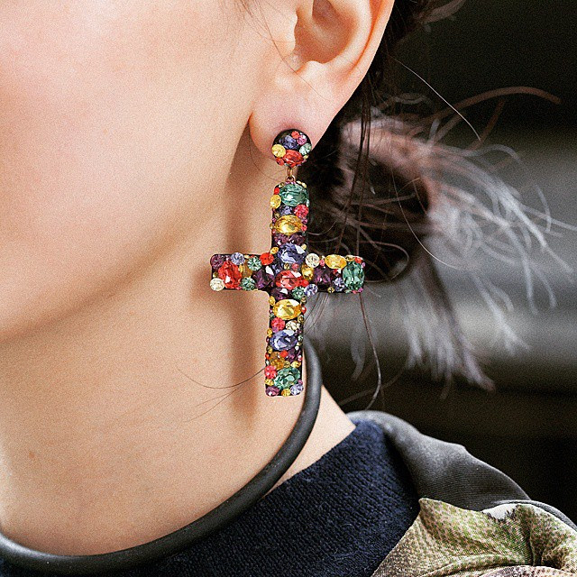 Cross Earrings In Multicolor Stones