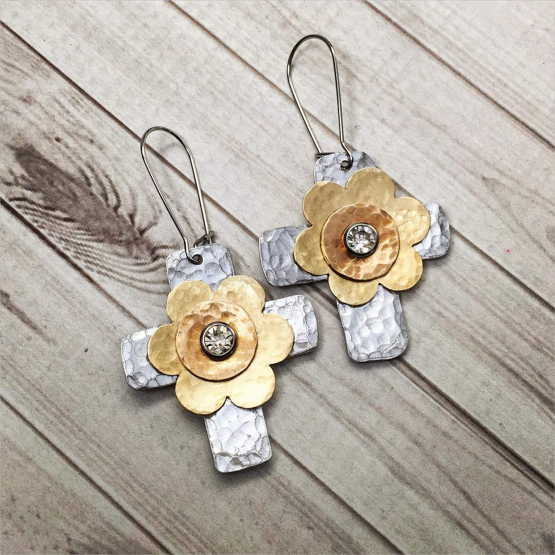 Metal Flower Cross Earrings